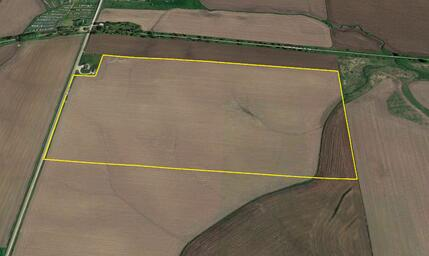 An aerial view of a plot of land for sale in Orange City, Iowa.