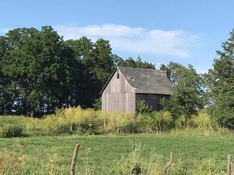 An old barn on a farm property