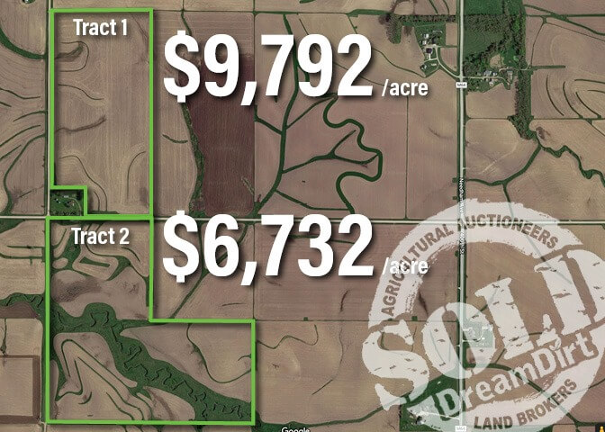 A graphic showing an aerial view of two land tracts shown at auction.