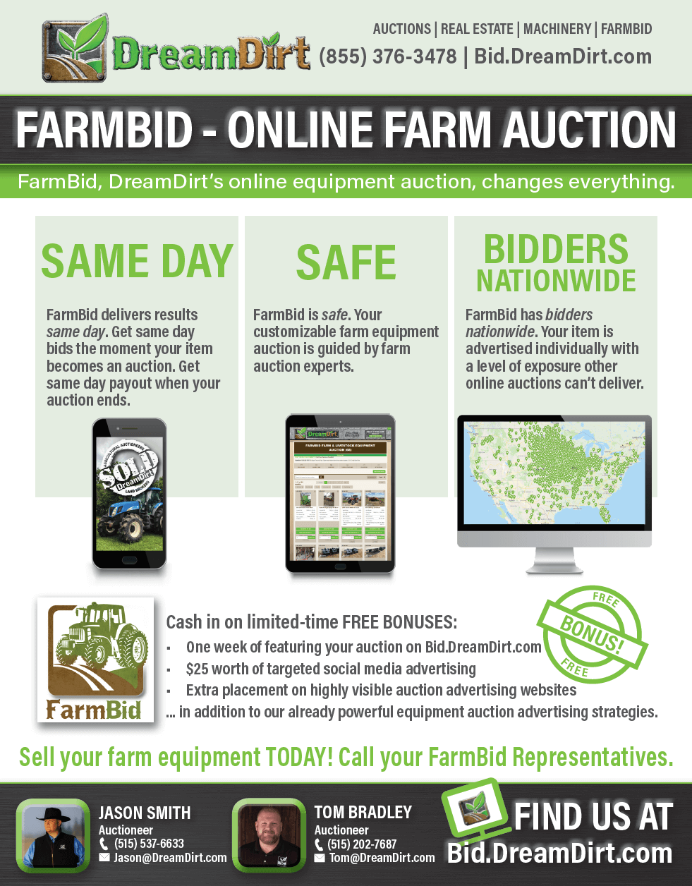 Image of a flyer about FarmBid.