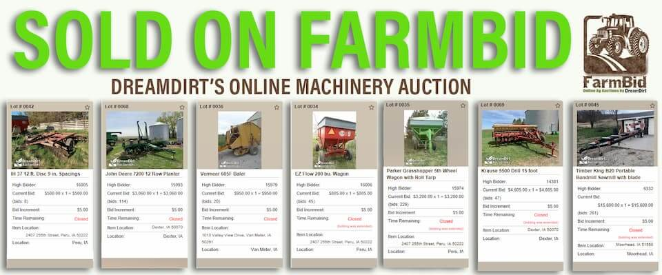 An advertisement highlighting equipment and machinery sold on the FarmBid platform.