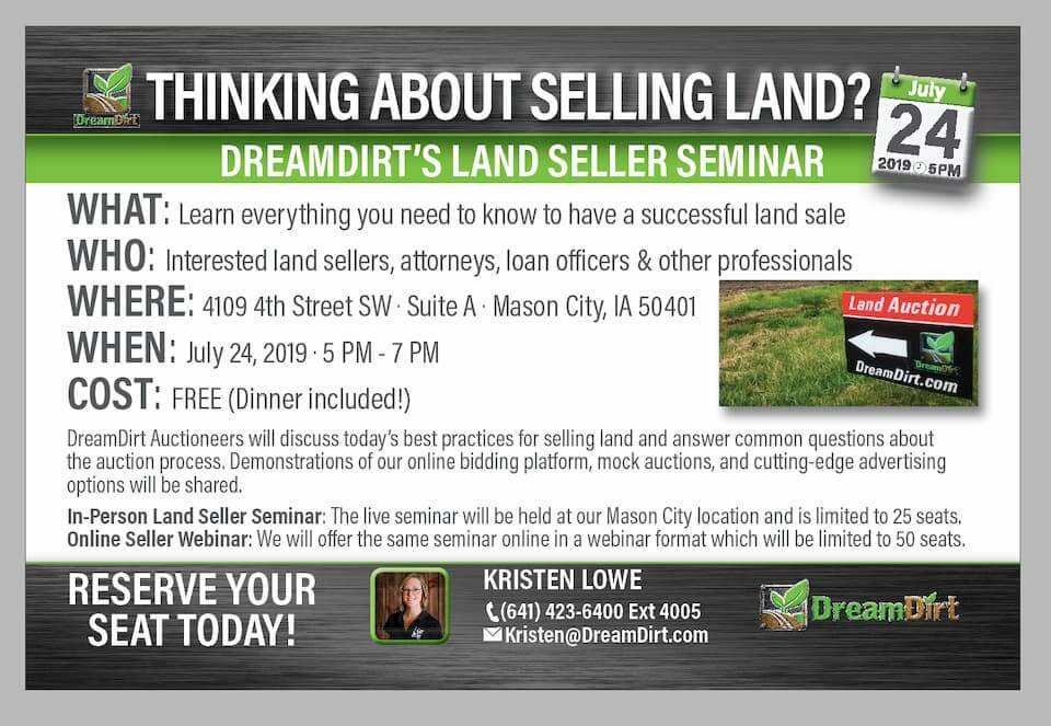 An advertisement for the DreamDirt land seller seminar.
