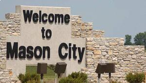 Photo of the Mason City welcome monument.