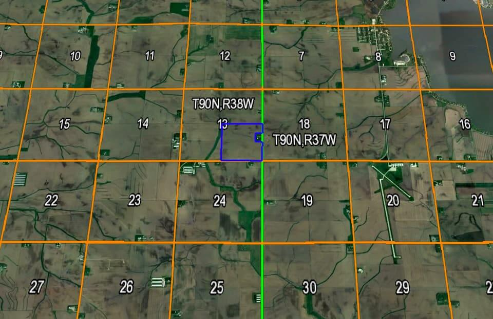 An aerial map showing farmland plots for sale.