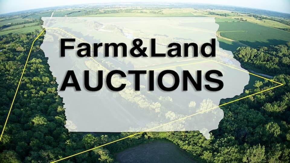 """An outline of the state of Iowa lays on top of a photo of land. Text on top of the photo reads, """"farm&land auctions""""."""