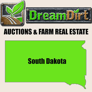 """Graphic of South Dakota with words """"Auctions & Farm Real Estate"""""""