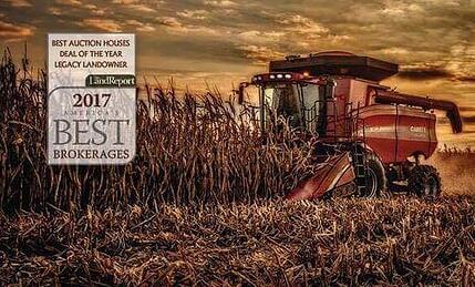 """A photo of a tractor with a text box to signify """"BEST AUCTION HOUSES DEAL OF THE YEAR LEGACY LANDOWNER"""""""