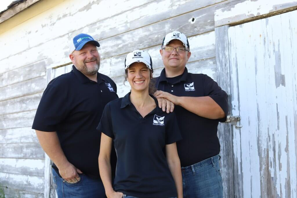 DreamDirt auctioneers and owners Jason Smith, Nicole Smith, Tom Bradley