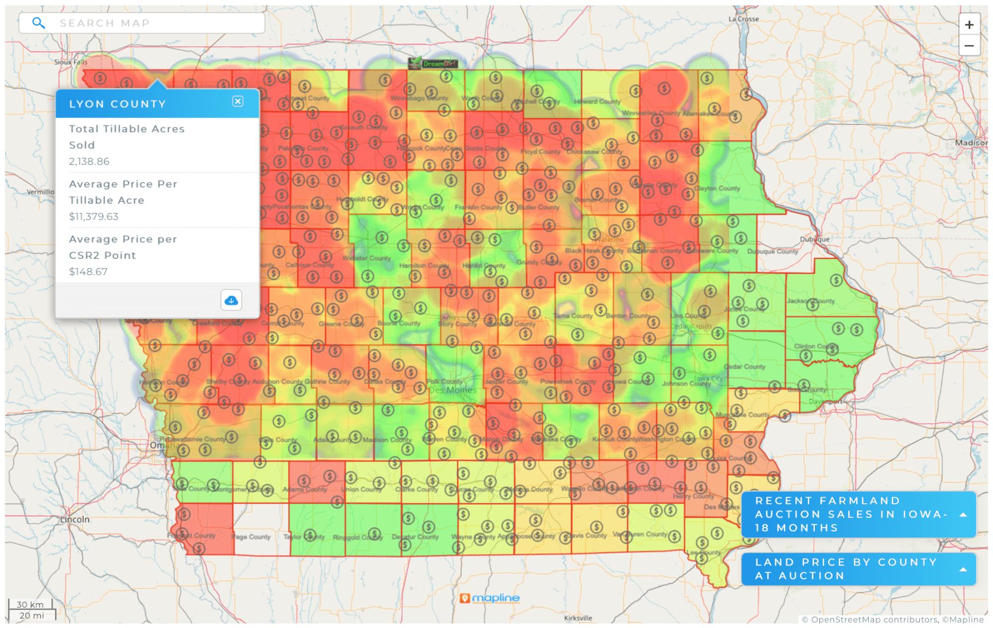 heat map of Iowa Farmland sales