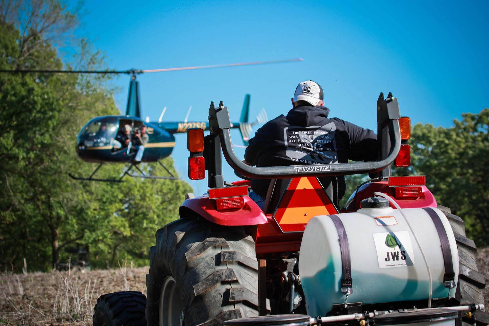 tractor and helicopter