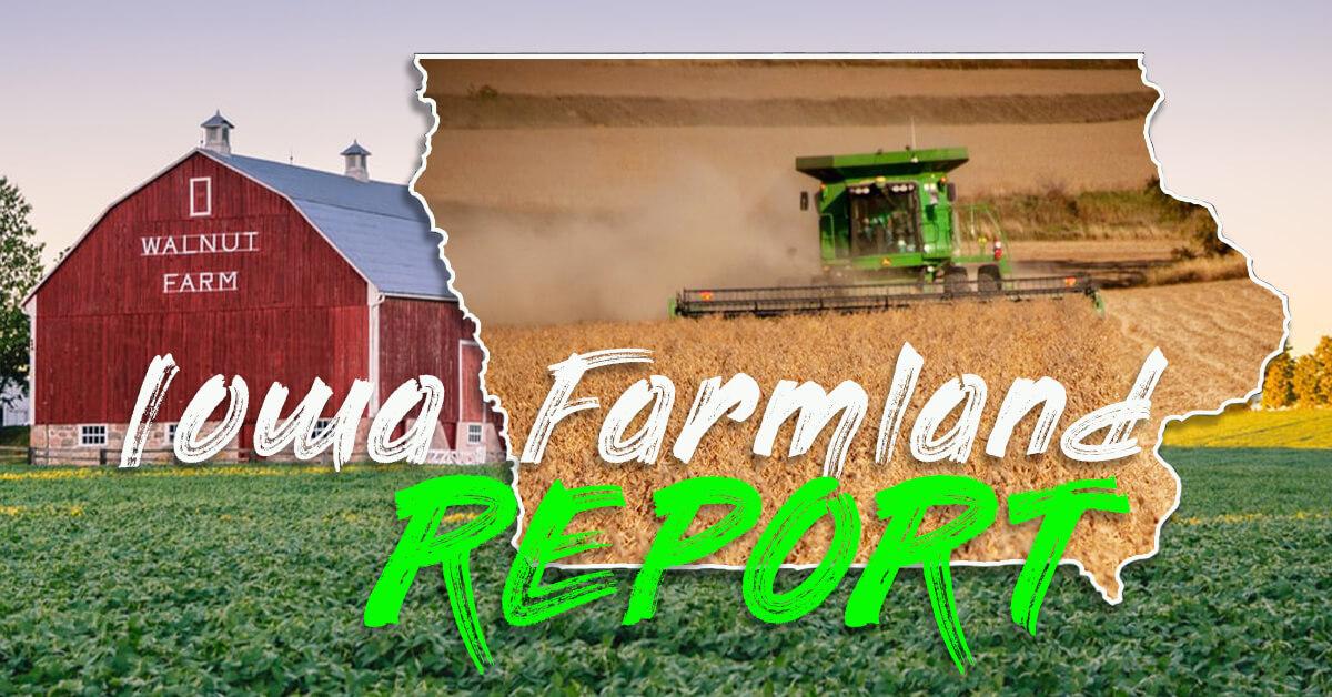 Iowa Farmland with combine and barn