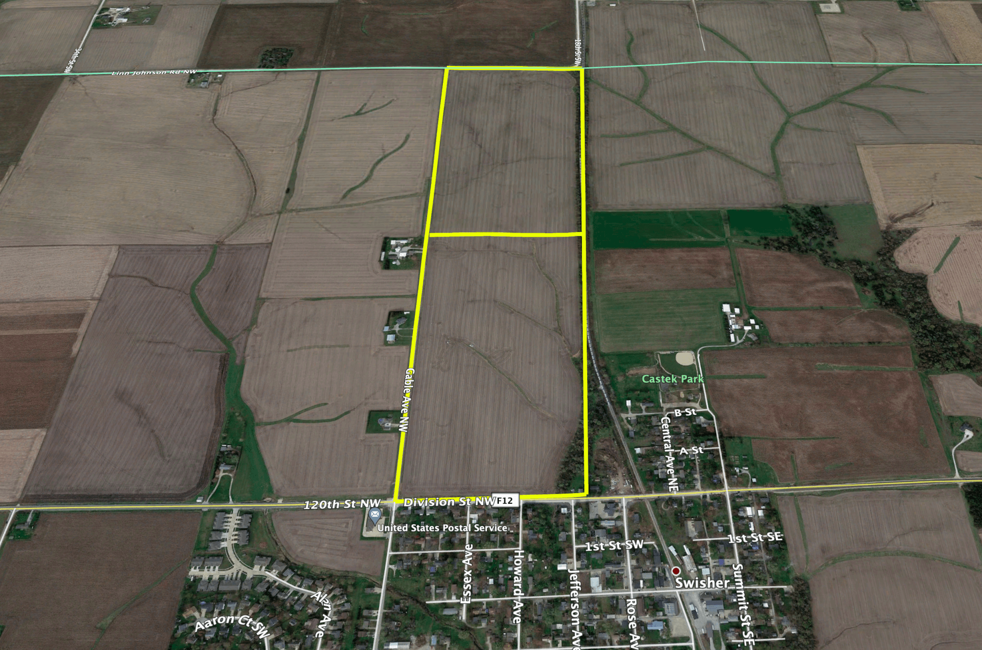 Aerial view of swisher iowa farm sold for 26000
