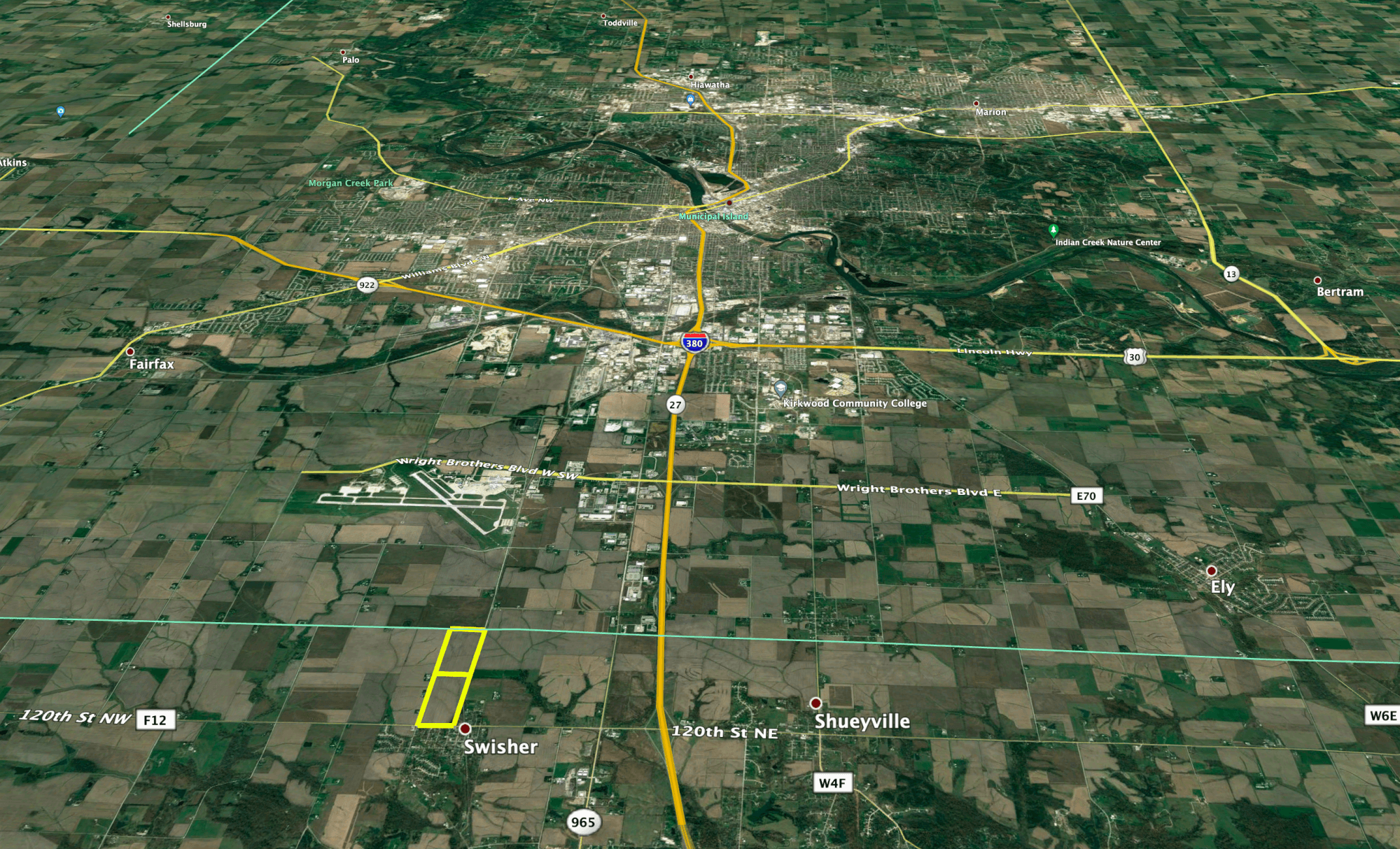 map of farm in Johnson County that sold 26000